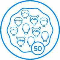 Pictogram bubbel van 50 personen